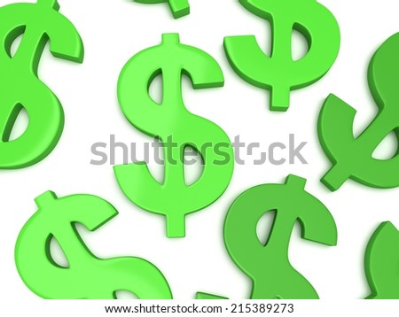 Green dollar signs on white. 3d render isolated on white background. Money rich business concept