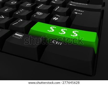 Green Dollar Symbols Key Keyboard Background