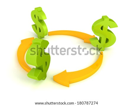 green dollar symbols with cycled orange arrows business concept on white background - stock photo