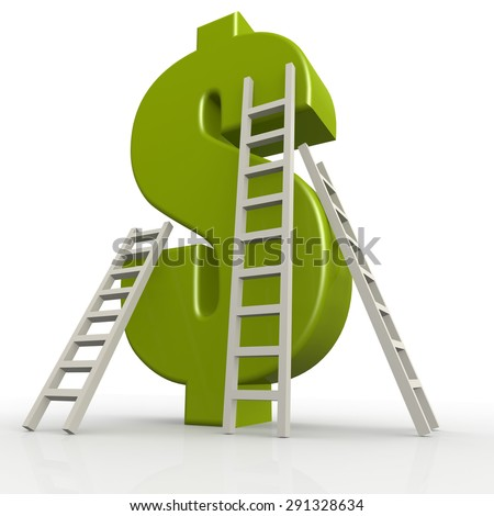 Green dollor signs with ladders image with hi-res rendered artwork that could be used for any graphic design. - stock photo