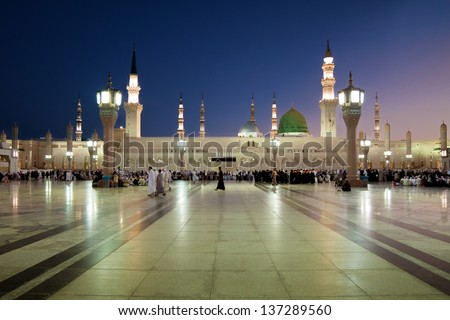 Green Dome at Nabawi - stock photo