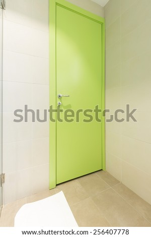 Green door in hotel room - stock photo