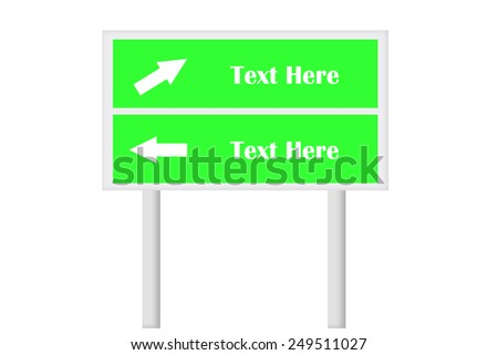 Green Double Signboard With Direction Arrow . Created Digitally. Suitable for signboard concept use or any relevant need.