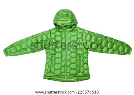Green down jacket isolated on white background. - stock photo