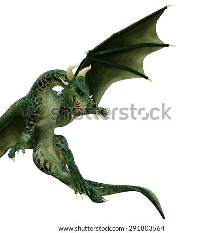 green dragon looking down - stock photo