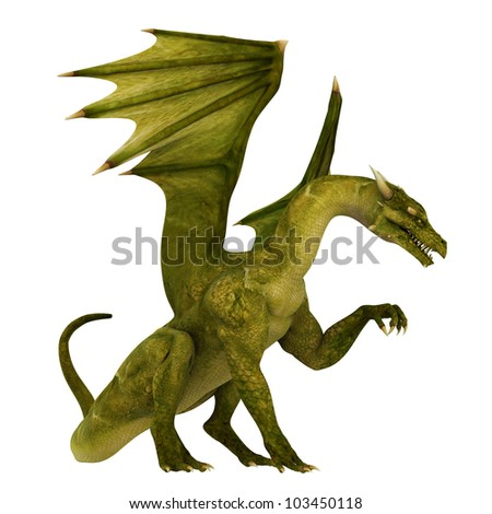 green dragon waiting - stock photo