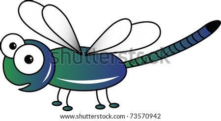 Green dragonfly on white - stock photo