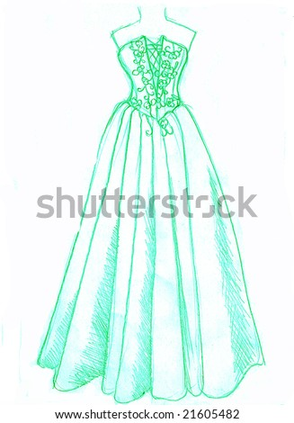 Green dress on a white background