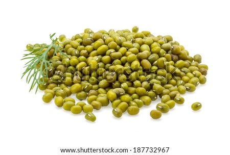 Green dry beans heap isolated