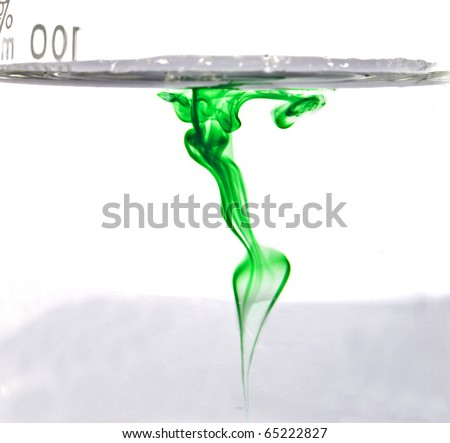 Green dry in water forming abstract background