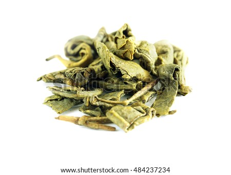 Green dry tea isolated on white background
