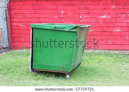 Green dumpster - stock photo