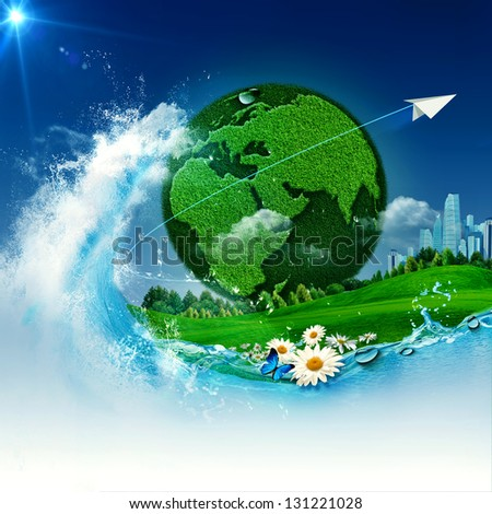 Green Earth. Abstract environmental backgrounds for your design - stock photo