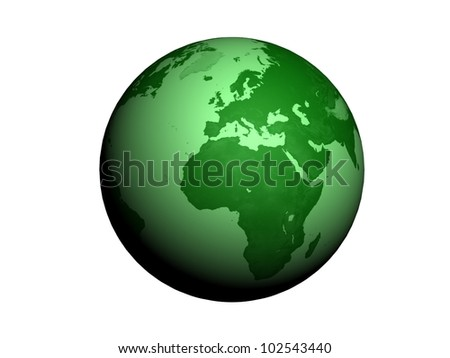 Green Earth globe 3d rende, ecology related illustration