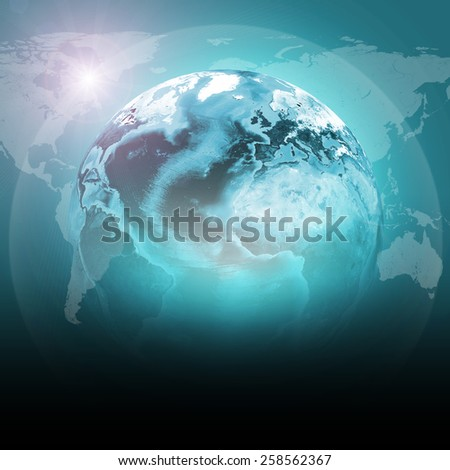 Green earth globe with continents, transparent. World map on dark background. Elements of this image furnished by NASA