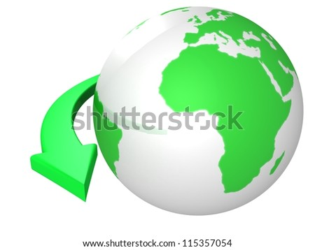 green earth globesphere  with arrow around - stock photo