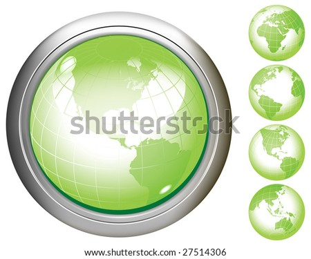 Green Earth glossy buttons. Raster version of vector illustration.