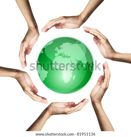 green earth protected by hands