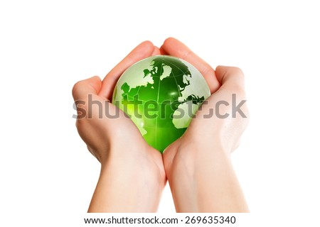 Green earth the world in hand - stock photo