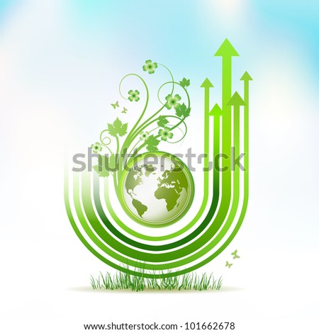 Green Earth with green arrow stripes - stock photo