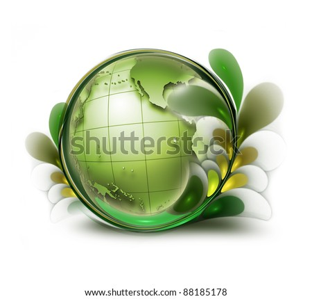 green earth with leaves on white background - stock photo