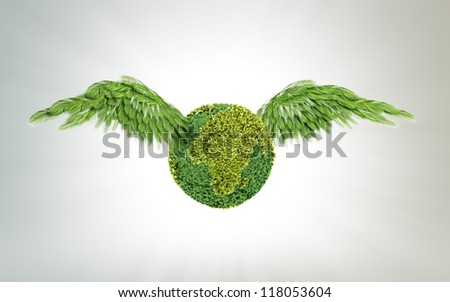 Green Earth with wing-shaped leafs