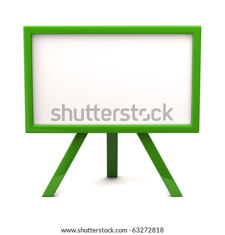 Green easel with blank canvas