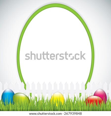 Green Easter greeting card template - stock photo