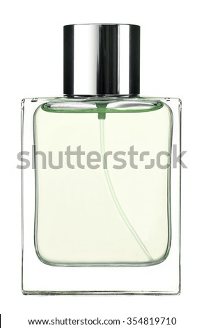 Green Eau de cologne / studio photography of the modern perfume bottle - isolated on white background - stock photo