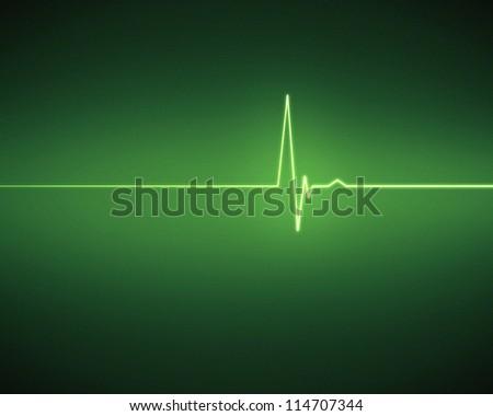 Green  ECG  heartbeat on black background - stock photo