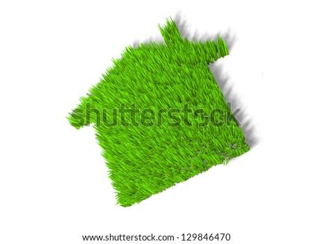 Green echo house metaphor - stock photo