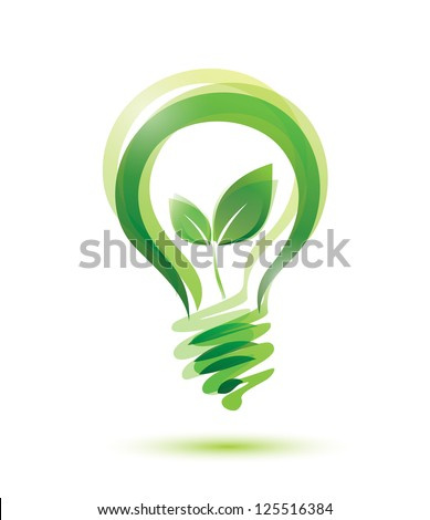 green eco energy concept, plant growing inside the light bulb. raster version - stock photo