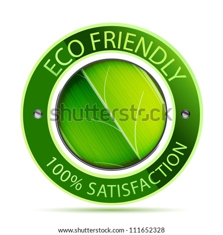 Green eco friendly icon with leaf. Raster version of my vector illustration - stock photo