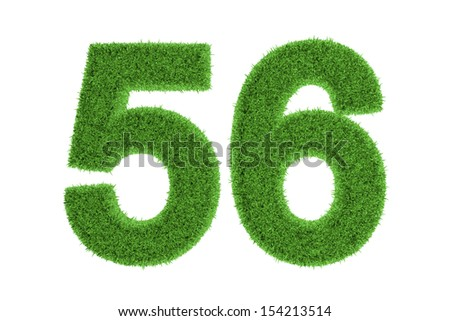 Green eco-friendly symbol of number 56 (fifty-six), filled with grass pattern, isolated on white background