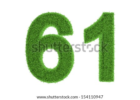 Green eco-friendly symbol of number 61 (sixty-one), filled with grass pattern, isolated on white background