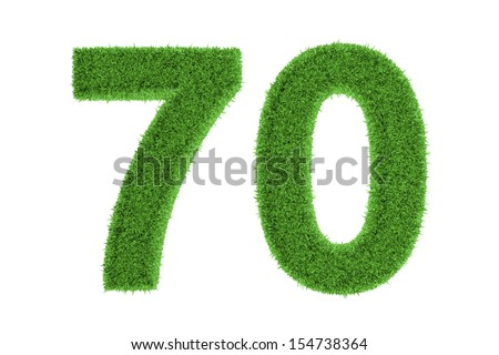 Green eco-friendly symbol of the anniversary number of 70 (seventy), filled with grass pattern, isolated on white background