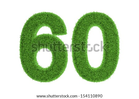 Green eco-friendly symbol of the anniversary number 60 (sixty), filled with grass pattern, isolated on white background
