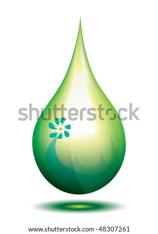 Green eco fuel drop, illustration - stock photo