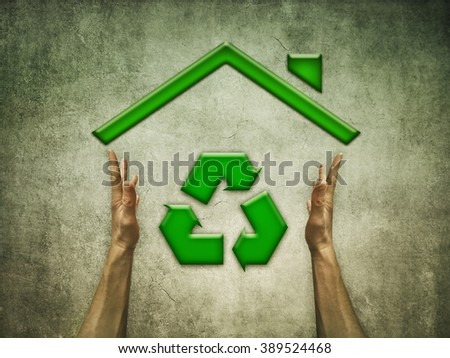 Green Eco House with recycling symbol for sustainable ecological system and renewable materials. Conceptual image about responsible building development  - stock photo