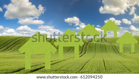Green eco houses on a green field against a blue sky, concept