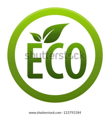 Green ECO icon or symbol isolated on white background. Stylized icon - stock photo