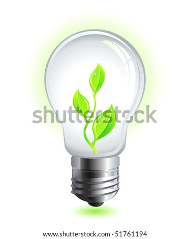 green eco lamp with natural leaf