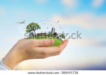 Green eco planet - stock photo