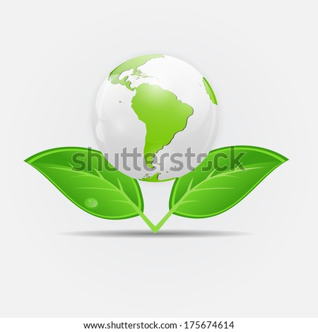 Green eco planet concept  illustration - stock photo