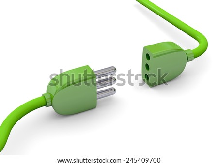 Green Ecologi Plug on white background - stock photo