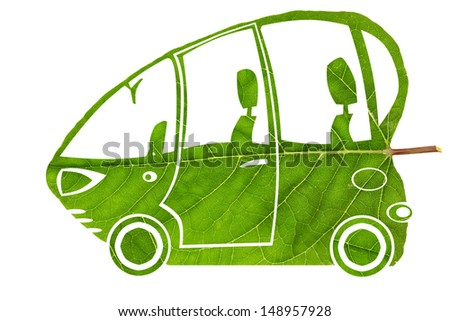 Green ecological electric funny  bio car concept - made from leaf collage. Isolated - stock photo