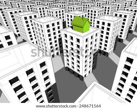 green ecological house built on the top of block of flats,  surrounded by many grey blocks of flats - stock photo