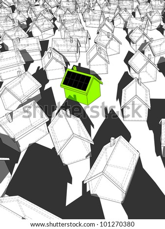 green �ecological� house with solar cells on roof standing out from others - stock photo