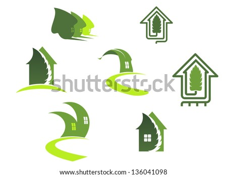 Green ecological symbols with leaves and houses, also for logo template. Vector version also available in gallery - stock photo