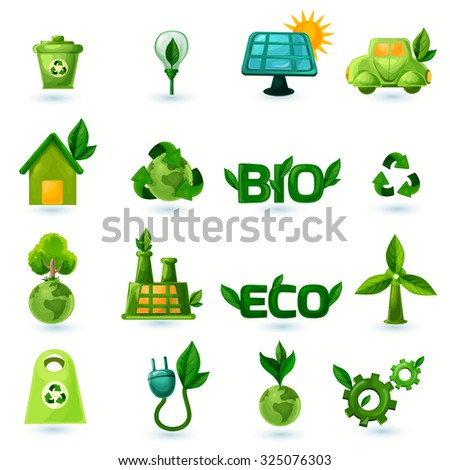 Green ecology and alternative energy with leafs icons set isolated  illustration